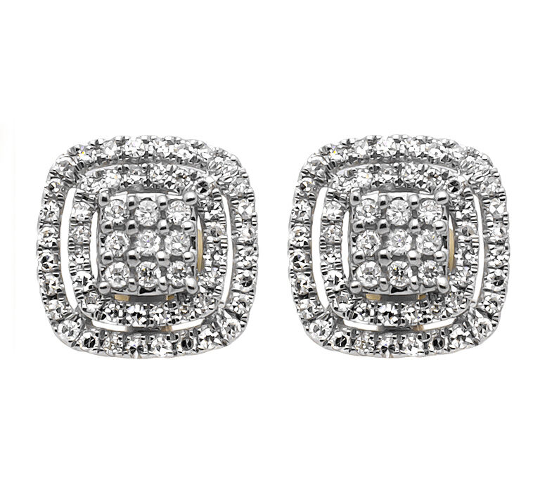 14K Yellow gold 11MM Cushion Shape Double Halo Diamond Stud Earrings 0.50CT