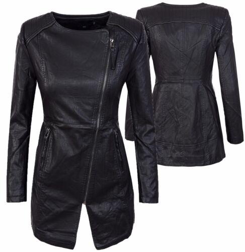 Da Donna Ecopelle Cappotto Giacca transizione giacca cappotto da donna nero d-301 NUOVO