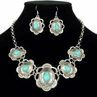 Engraved Silver Tone Concho Turquoise Western Necklace Set