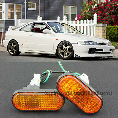 94-01 Integra Acura Amber Flat Side Marker Lights Replacement Fender JDM Type R