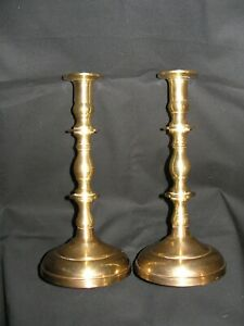 Vintage-Pair-of-Matching-Solid-Brass-Candlesticks-Holders-9-1-2-034-H-X-4-1-2-034-W