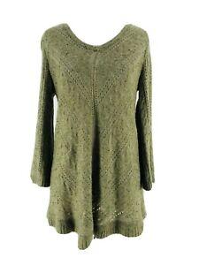Westport-Women-039-s-Green-Long-Sleeve-V-Neck-Knit-Sweater-Size-Small