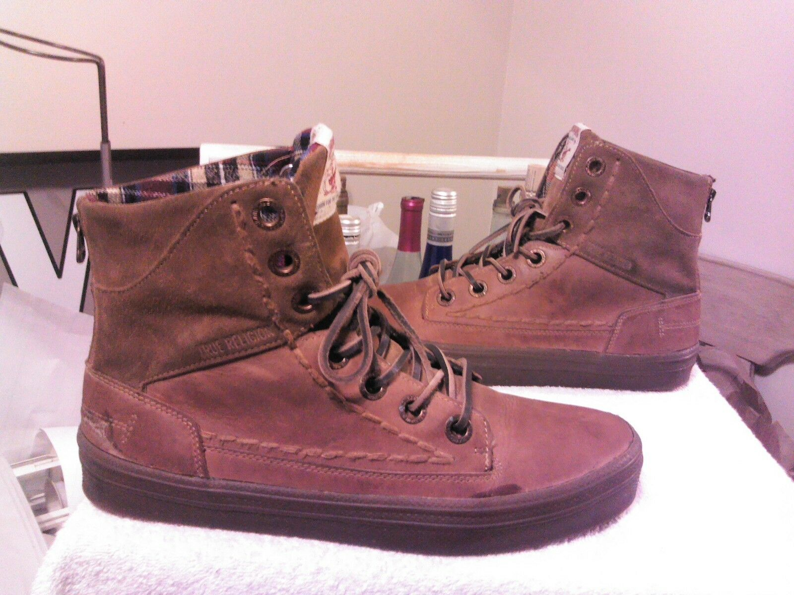 True Religion Camby Leather/Suede Tan/Brown High Top Sneaker Boot Shoe Sz 12