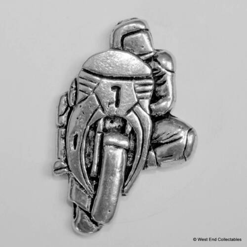 Motorbike Motorcyle TT Racer Knee Down Pewter Pin Brooch British Hand Crafted