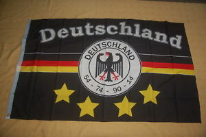 Deutschland-Fussball-4-Sterne-Schwarz-Fan-Flagge-Fahne-150-x-90-cm-TOP