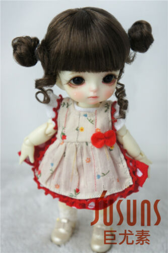 """5-6/"""" Doll Wig Cute Two Pony Hair with Full Bang for 1//8 BJD Dolls 5 Colors"""