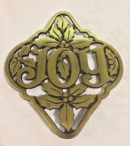 Christmas Joy Cast.Details About Vintage Avon Cast Iron Brass Finish Joy Holiday Christmas Trivet