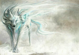 Image Is Loading A4 Poster Fantasy Blue Amp White Dire Wolf