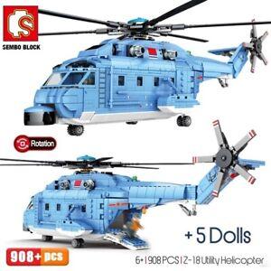 908PCS Type 18 Purpose Helicopter Building Blocks Bricks Figure Toy Model
