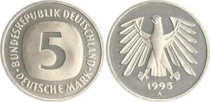 5 DM Currency Coin 1995 A Top-Erhaltung! Seltenes Jahr. Fresh Mint Condition