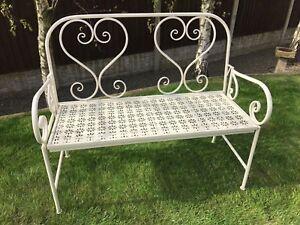 Image Is Loading Gardman Heart Backed Metal Folding Garden Bench In