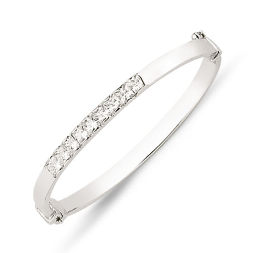 STERLING SILVER CUBIC ZIRCONIA CZ HINGED ETERNITY BABY BANGLE CHILDS BRACELET