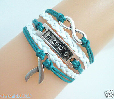 Infinity/Hope/Cancer Awareness Ribbon Charms Leather Braided Bracelet Teal/White