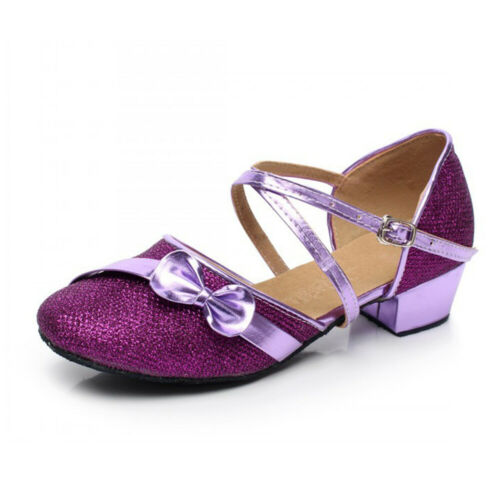 Girls Kids Children Mary Jane Glitter Low Heels Party Wedding Sandals Shoes Gold