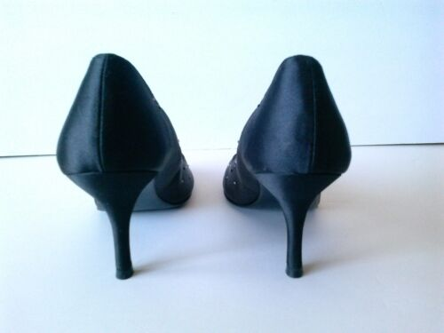 Pumps Maat Black 39 Satin Crystal Peep Toe Bourne Y7gyfv6Ib
