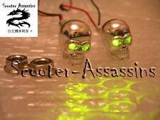 CHROME SKULL GREEN LED lamps/lights Number/Licence plate bolts (pair)