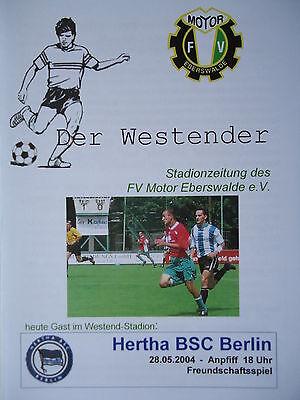 Programm 28.5.2004 FV Motor Eberswalde Hertha BSC Berlin