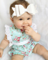 Baby girls mint flowered romper bow suit. casual party summer photo shoot 435