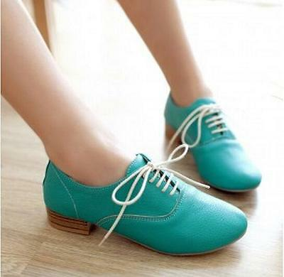 New 736709 Womens Pu LeatherMid Heel Lace Up Pumps Oxford Casual Shoes US 5-8