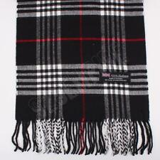 Women 100% CASHMERE Scarf Black tartan Plaid Design Soft MADE IN SCOTLAND