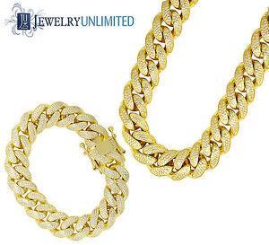 Mens Sterling Silver Yellow Gold Lab Diamond Miami Cuban Chain