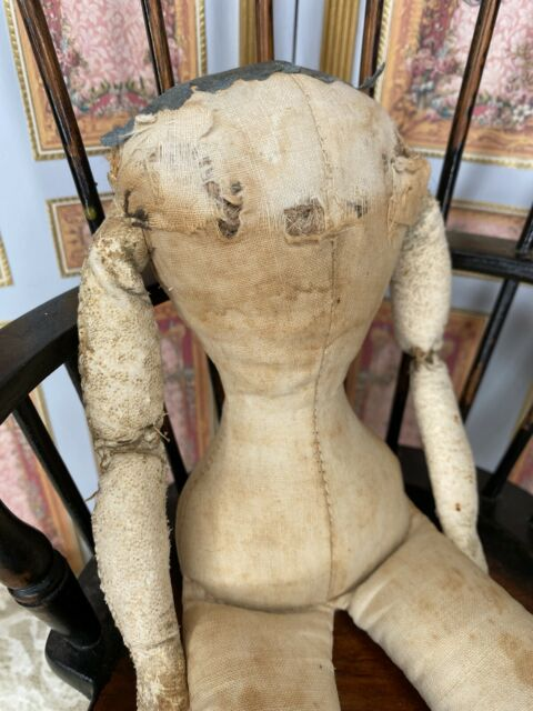 """12"""" Antique Cloth Doll Body With Leather Arms"""