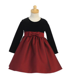 New Baby Flower Girls Red Satin Tulle Dress Wedding Easter Christmas Party 711