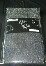 Intense Silver Glittery Black Ladies Tights 10-14 NEW Sparkly Opaque XMAS PARTY