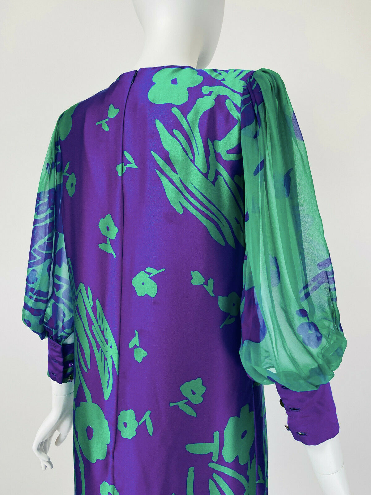 Designer Vintage 80s Silk Dress PAULINE TRIGERE S… - image 7
