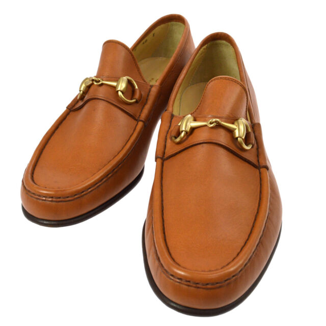 18824adcbd8 Auth GUCCI Horsebit Shoes Loafers Brown Leather  40 E Vintage Italy A40297