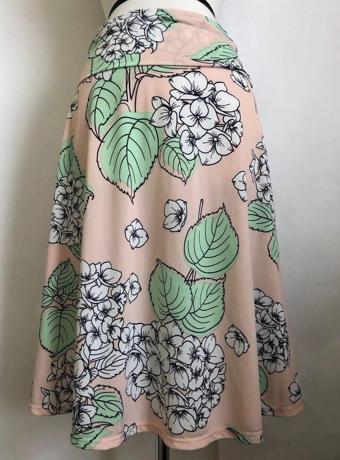 LuLaRoe Azure Skirt Size Small Pink White Hydrangea Floral Slinky Usa Rare Print