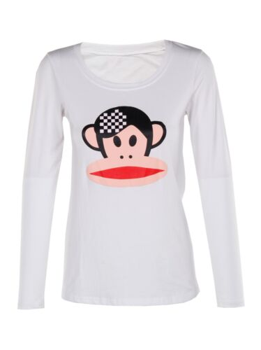 New Womens Long Sleeve Round Neck White Plain Basic Monkey Print Top Tshirt