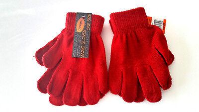 Motivata Bambini Ragazzi Ragazze Rosso Rubino Elastico Magico Guanti Caldi Invernali Termici!-mostra Il Titolo Originale