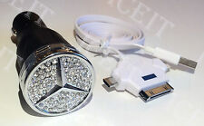 Mercedes Benz Logo USB Phone Charger Black Made with Swarovski Crystals USA