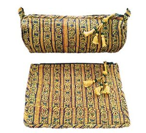 5062af2b0569 Details about Anokhi Yellow Stripe Small Cosmetic Bag Set