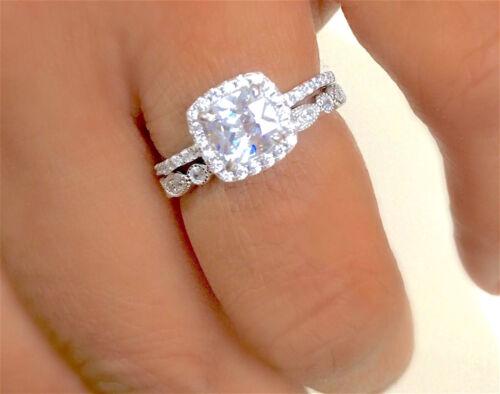 925 Silver Ladies 2 piece Cushion Cut Halo Bridal Ring Set