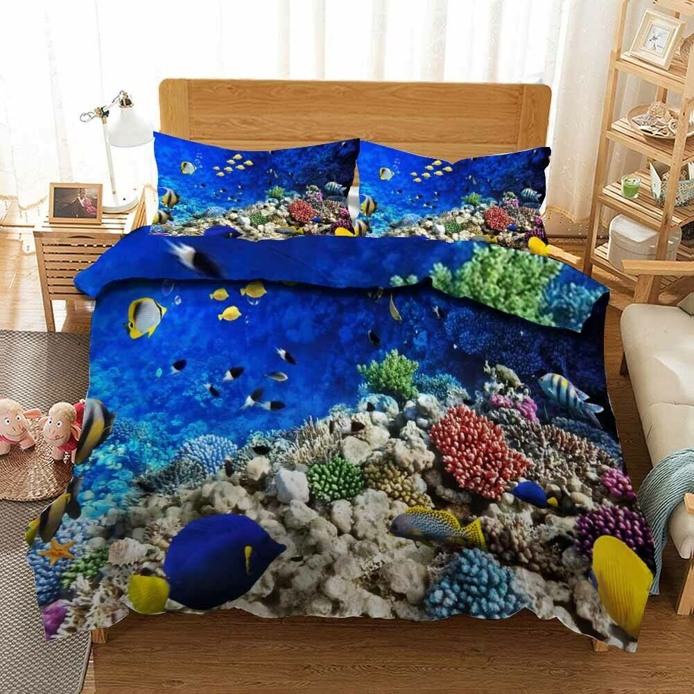 giallo Flat Fish 3D Printing Duvet Quilt Doona Covers Pillow Case Bedding Sets
