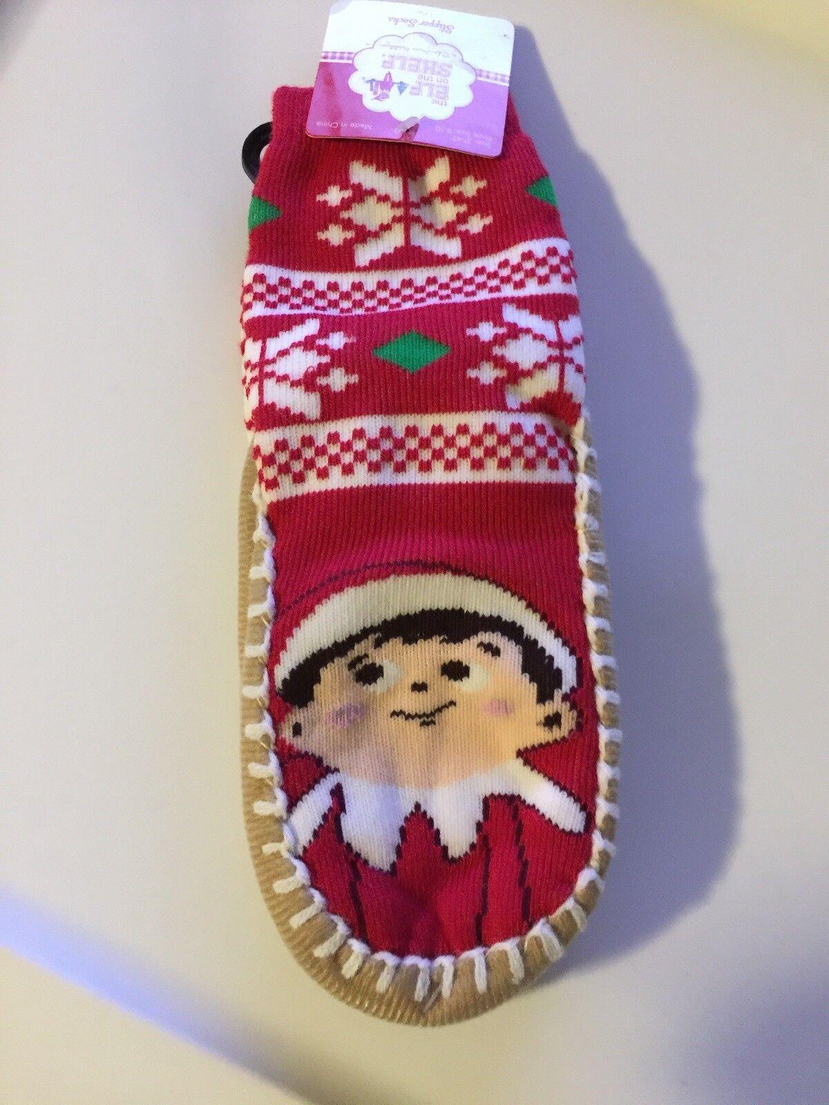 NWT Elf on the Shelf Christmas Red Slipper Socks  Toddler Boy or Girl 2T-3T Cute