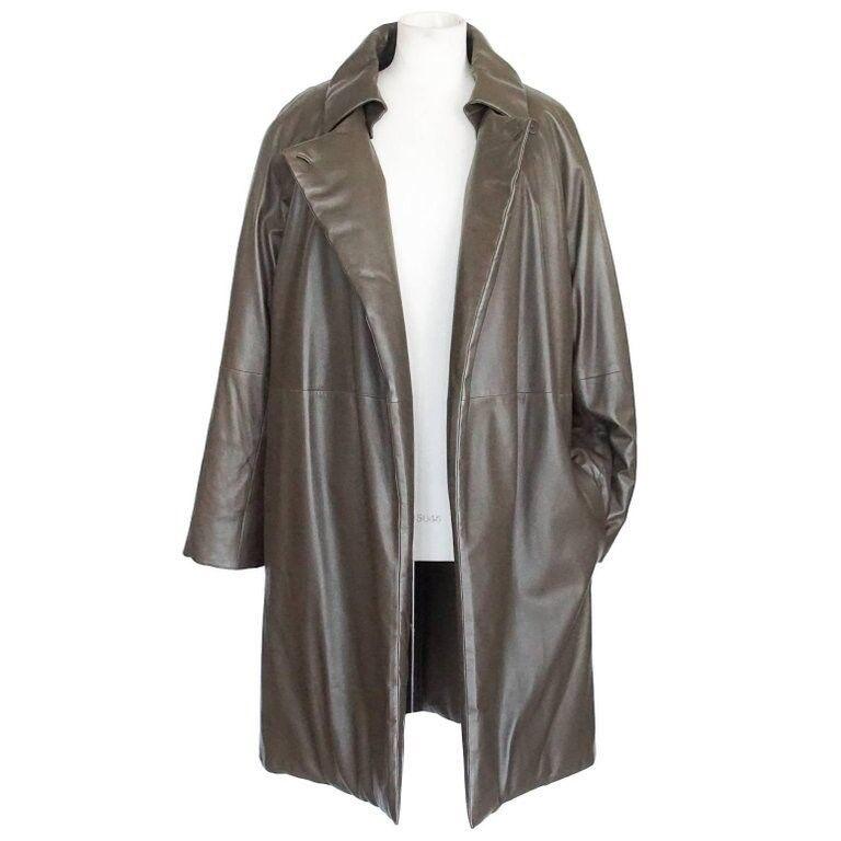 Hermes Coat Lamb Leather Taupe Sleek Subtle Wadding Detachable Collar 38   6