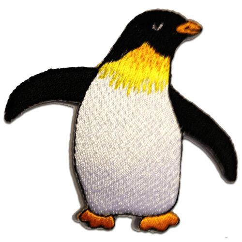 7,8 x 7,2 cm Aufnäher // Bügelbild Pinguin Kinder Tier Happy Feet weiß