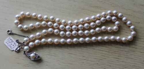 Vintage Synthetic Pearl Bead Necklace Sterling Si… - image 1