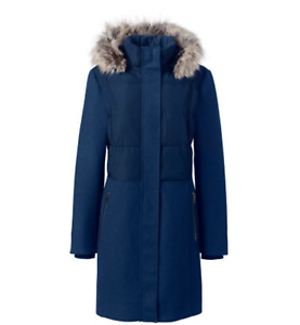 NEW Lands' End bluee Wool puffer mix  Hybrid Coat fur trimmed hood Sz large L P