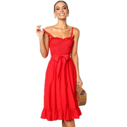 Damen Riemchen Strandkleid Sommerkleid Trägerkleid Midikleid Partykleid Kleider