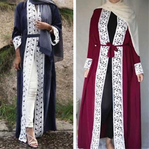 Dubai-Style-Open-Front-Trim-Abaya-Jilbab-Lace-Muslim-Islamic-Maxi-Dress-Belt