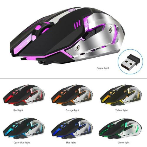 HXSJ M10 2.4GHz Wireless Gaming Mouse Rechargeable Backlight Mice Black NIGH