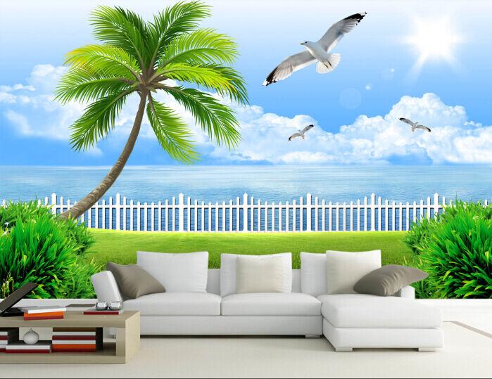 3D Palm Tree Sunlight Bird Wall Paper Wall Print Decal Wall AJ WALLPAPER CA
