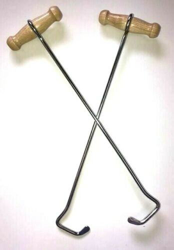 """LONG BOOT HOOKS Western PAIR Wood Handles Cowboy Boots Bootstrap Puller NEW 13/"""""""