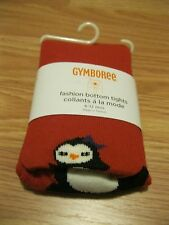 """NWT Gymboree 2011 """"Winter Penguin"""" Girl's Red Penguin Tights Size 12-24 mos"""