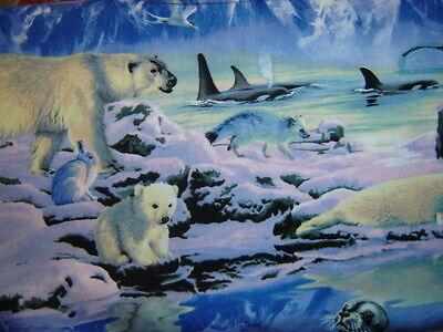 Wildlife Artic Polar Bear Seal Fox Whale  Elizabeth Studios By the yard fabric
