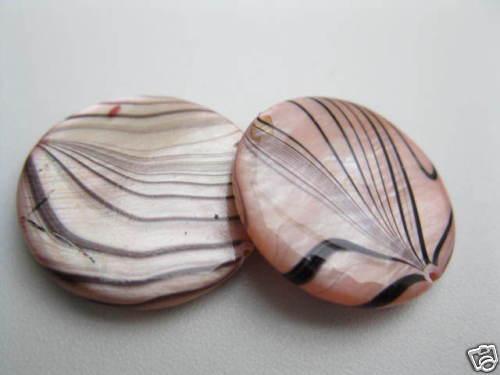 2 concha nacar-discos de perlas 20mm tierna rosa 4048